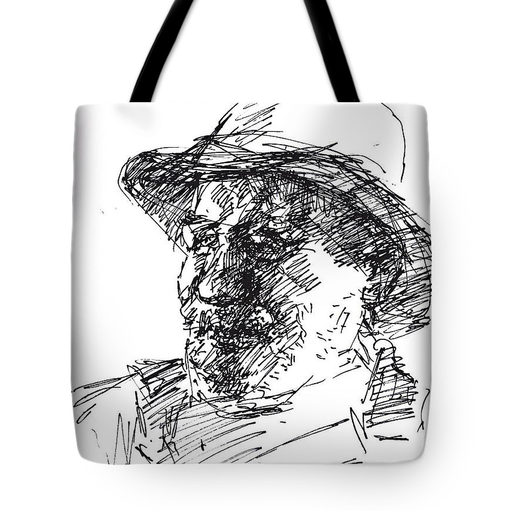 Man Tote Bag featuring the drawing Happy Roger by Ylli Haruni