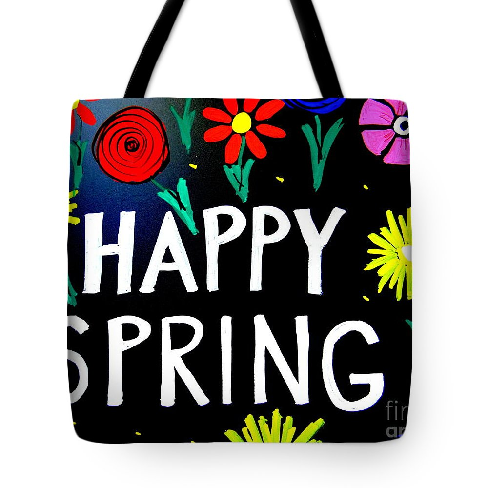 Signs Tote Bag featuring the photograph Happy Spring by Ed Weidman