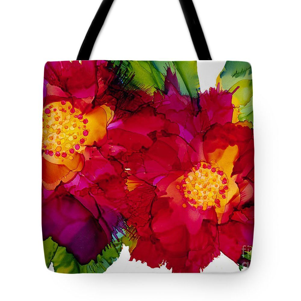 Flowers Tote Bag featuring the painting Happy to See You by Francine Dufour Jones