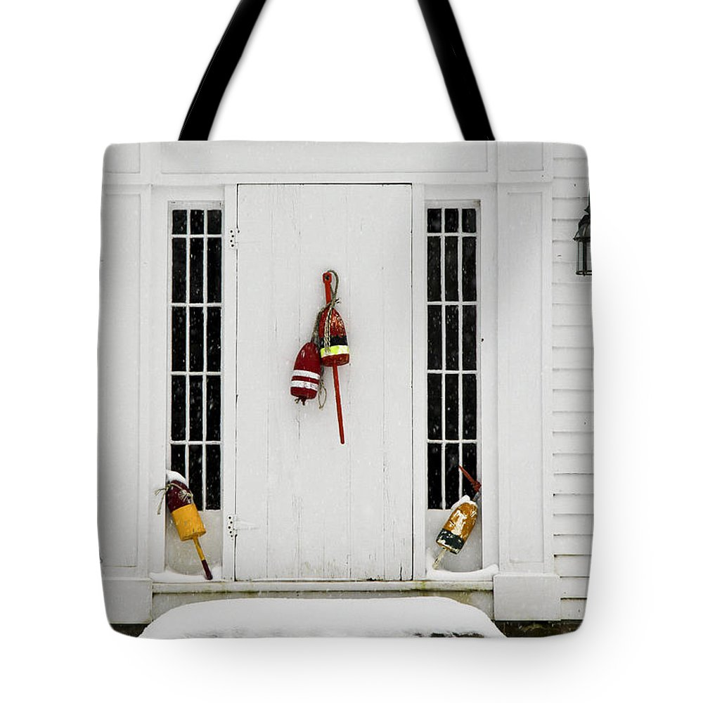 Maine Tote Bag featuring the photograph Harbor Door by Brenda Giasson