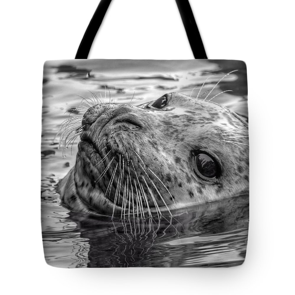 Black And White Tote Bag featuring the photograph Harbor Grey by James Anderson