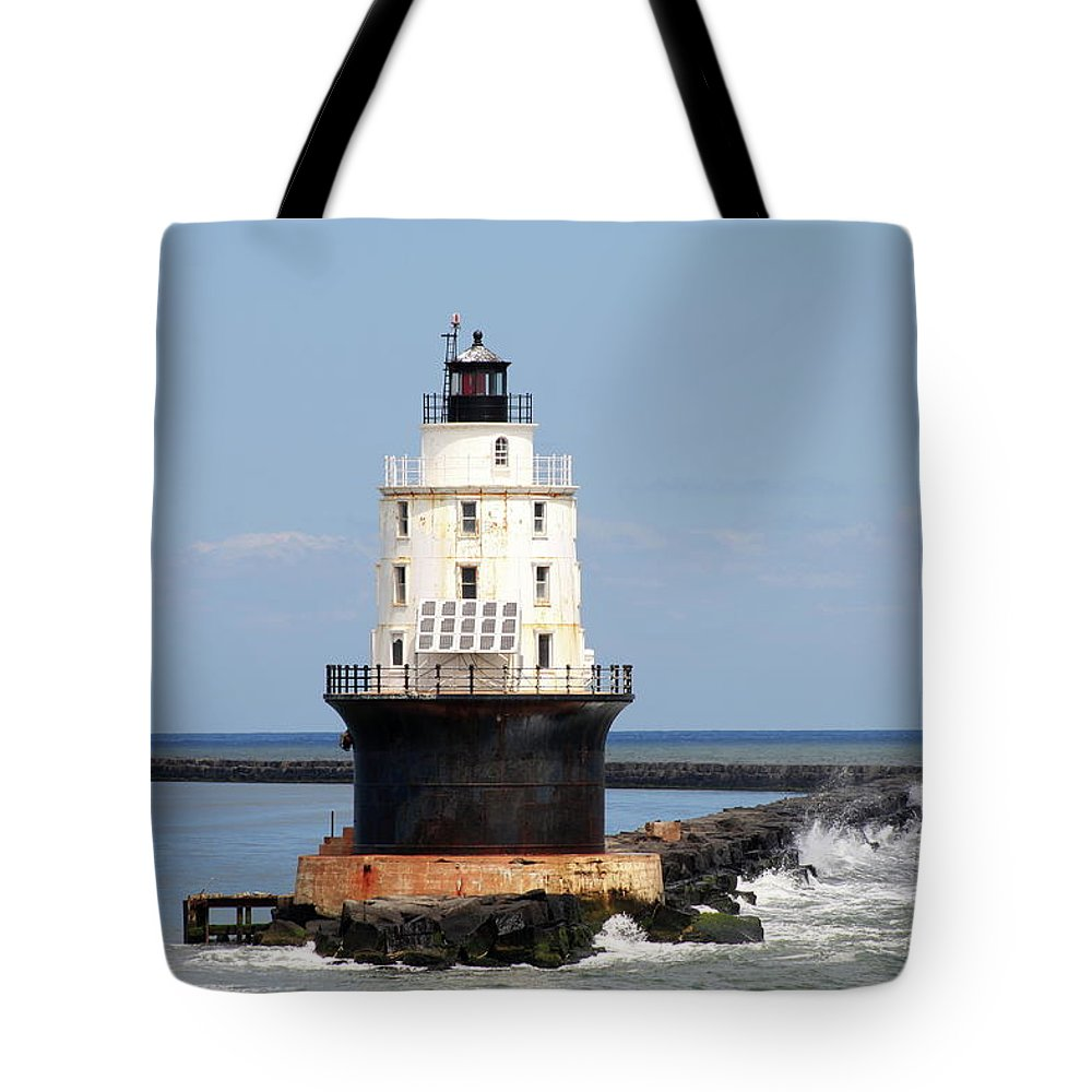 Harbor Of Refuge Light Tote Bag featuring the photograph Harbor Of Refuge Light And Breakwater by Christiane Schulze Art And Photography