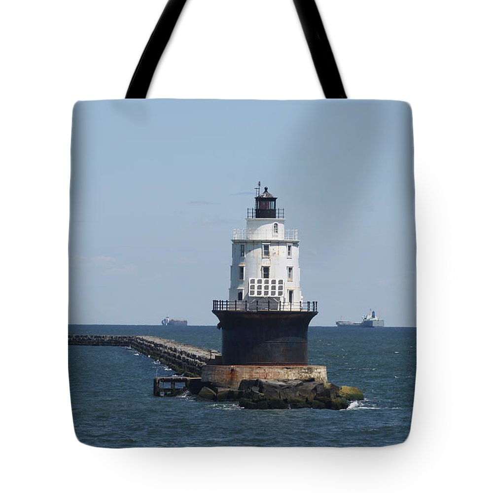 Lighthouse Tote Bag featuring the photograph Harbor Of Refuge Lighthouse by Christiane Schulze Art And Photography