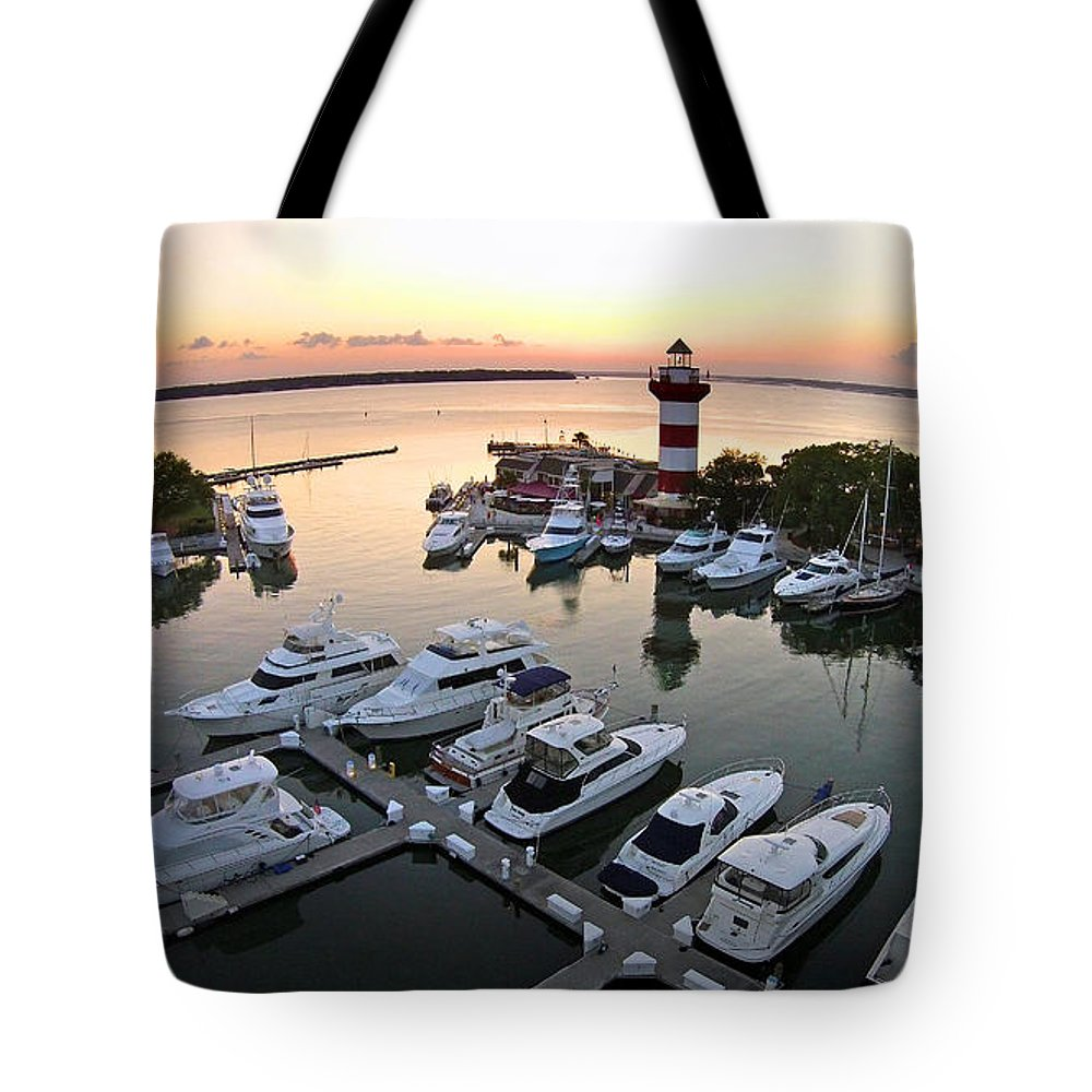 Harbor Town Tote Bag featuring the photograph Harbor Town 5 In Hilton Head by Duane McCullough