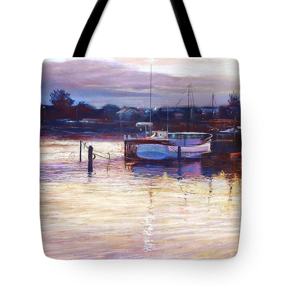 Lynda Robinson Tote Bag featuring the pastel Harbour Lights - Apollo Bay by Lynda Robinson