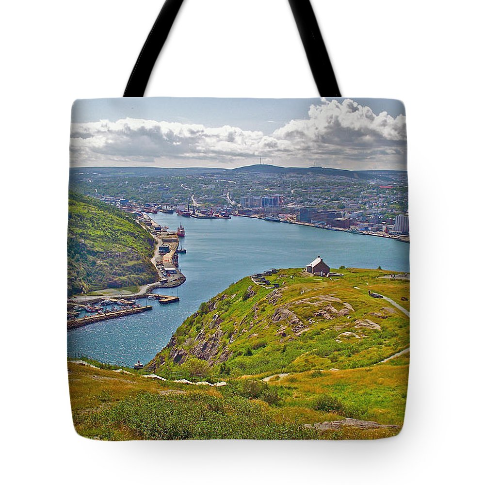 Harbour View From Signal Hill National Historic Site In Saint John's Tote Bag featuring the photograph Harbour View From Signal Hill National Historic Site In Saint John's-nl by Ruth Hager