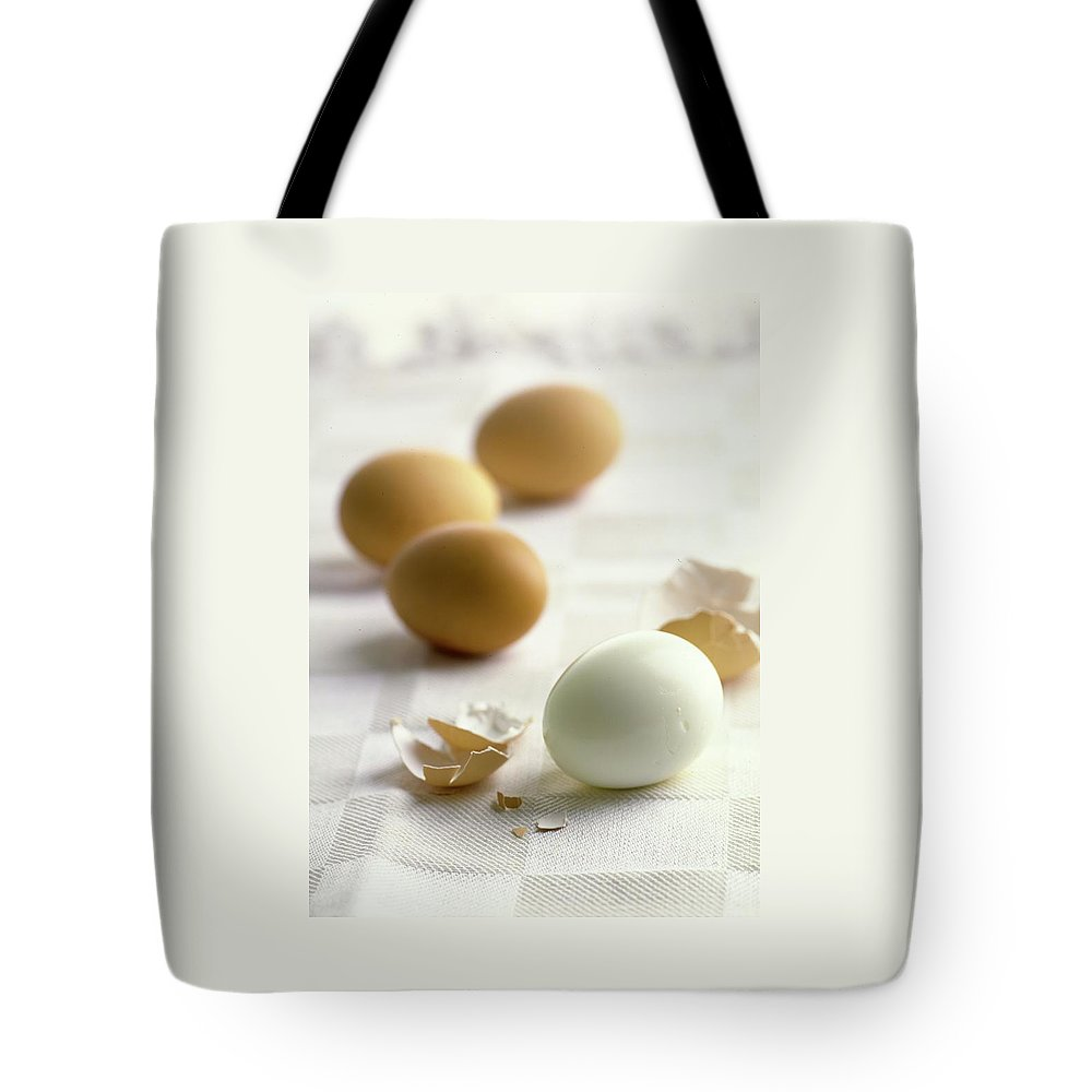 Cooking Tote Bag featuring the photograph Hard-boiled Eggs by Romulo Yanes