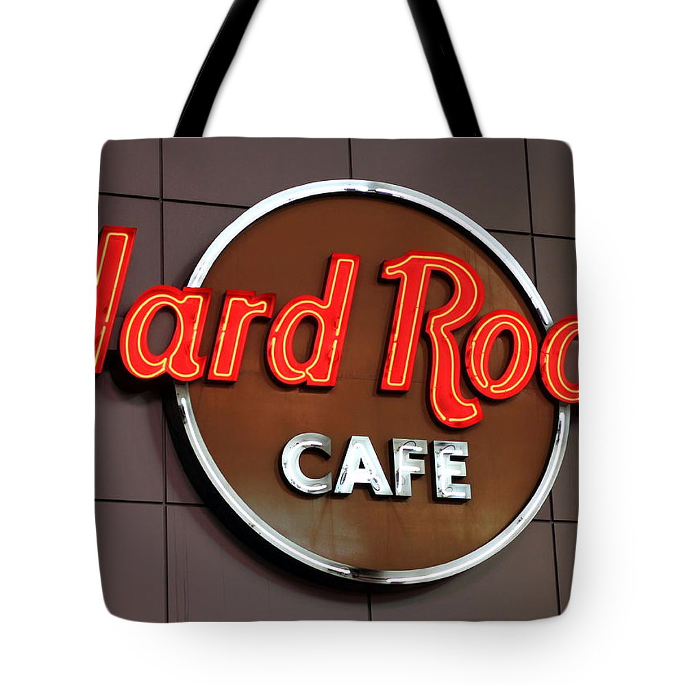 Cafe Tote Bag featuring the photograph Hard Rock Cafe Sign by Valentino Visentini