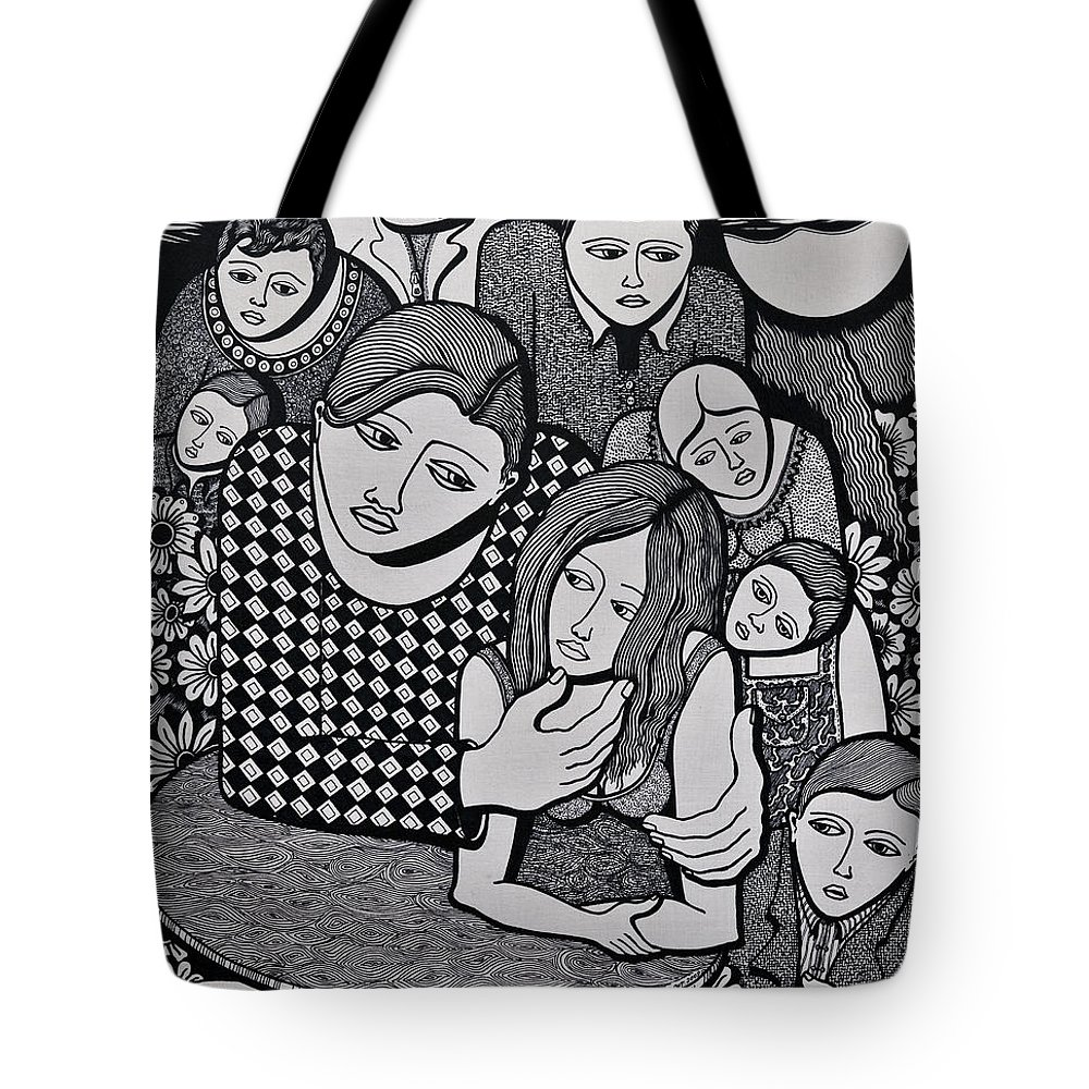 People Tote Bag featuring the painting Harlequin And The Masked Moon by Jose Alberto Gomes Pereira