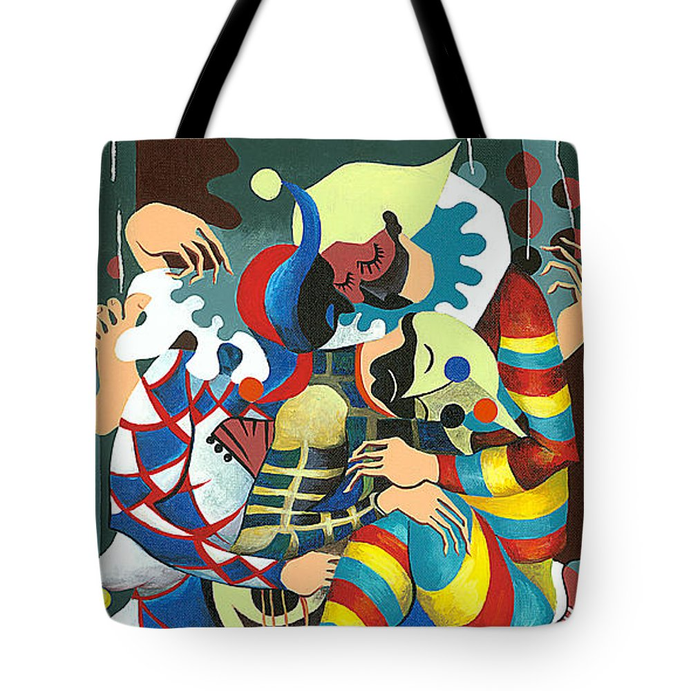 Canvas Prints Tote Bag featuring the painting Harlequins Acting Weird - Why?... by Elisabeta Hermann