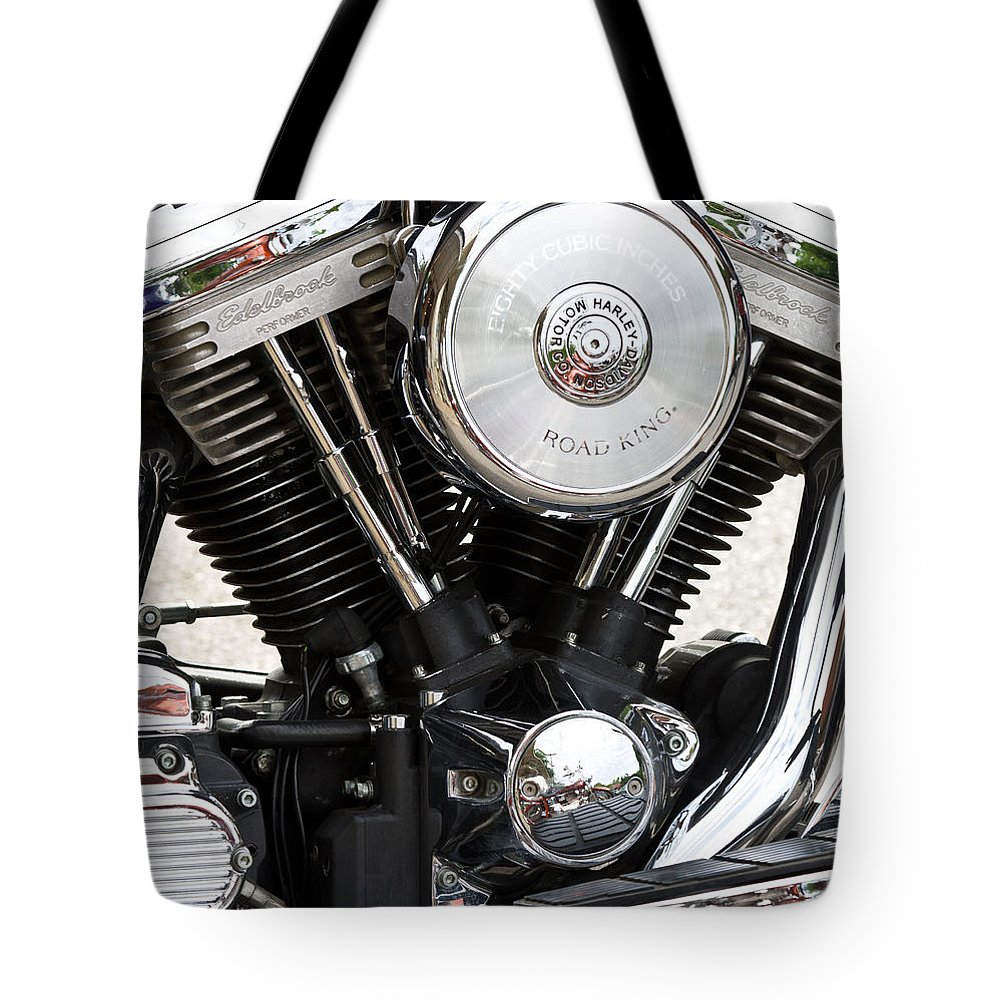 Chrome Tote Bag featuring the photograph Harley Chrome And Steel by Ed Gleichman