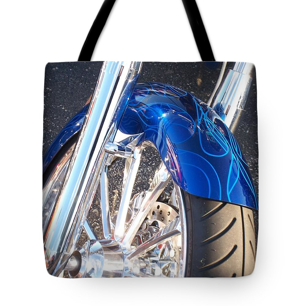 Motorcycles Tote Bag featuring the photograph Harley Close-up Blue Flame by Anita Burgermeister