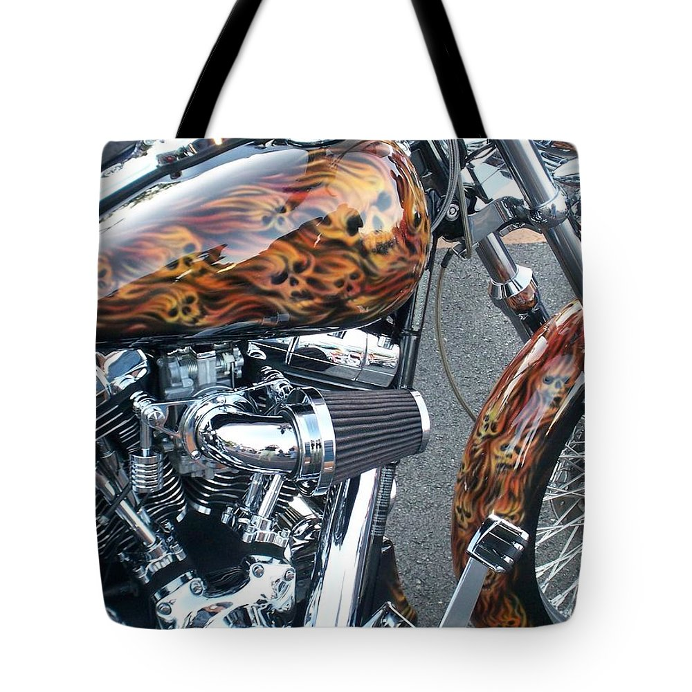 Motorcycles Tote Bag featuring the photograph Harley Close-up Skull Flame by Anita Burgermeister