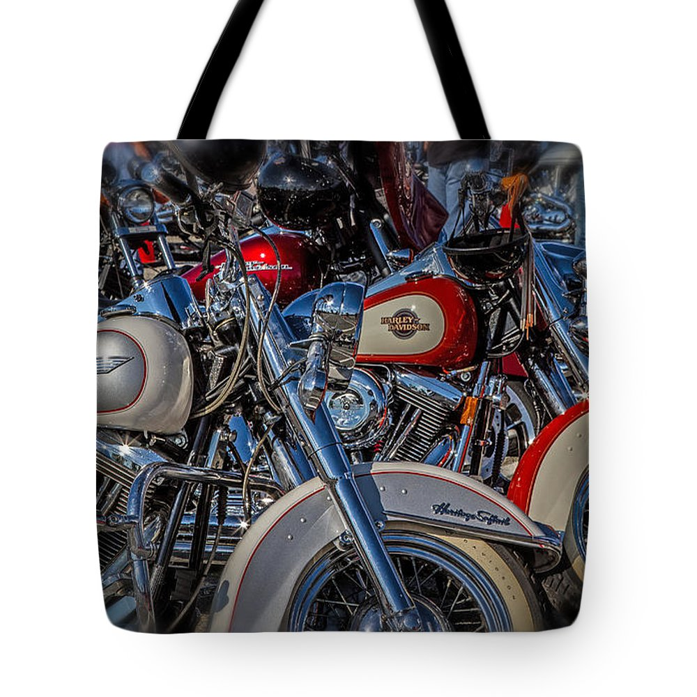 Motorcycles Tote Bag featuring the photograph Harley Pair by Eleanor Abramson