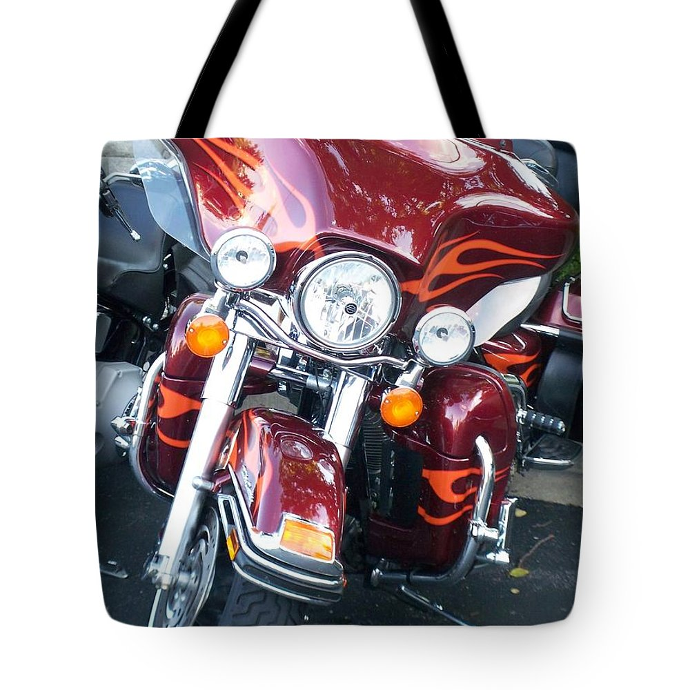 Motorcycles Tote Bag featuring the photograph Harley Red W Orange Flames by Anita Burgermeister