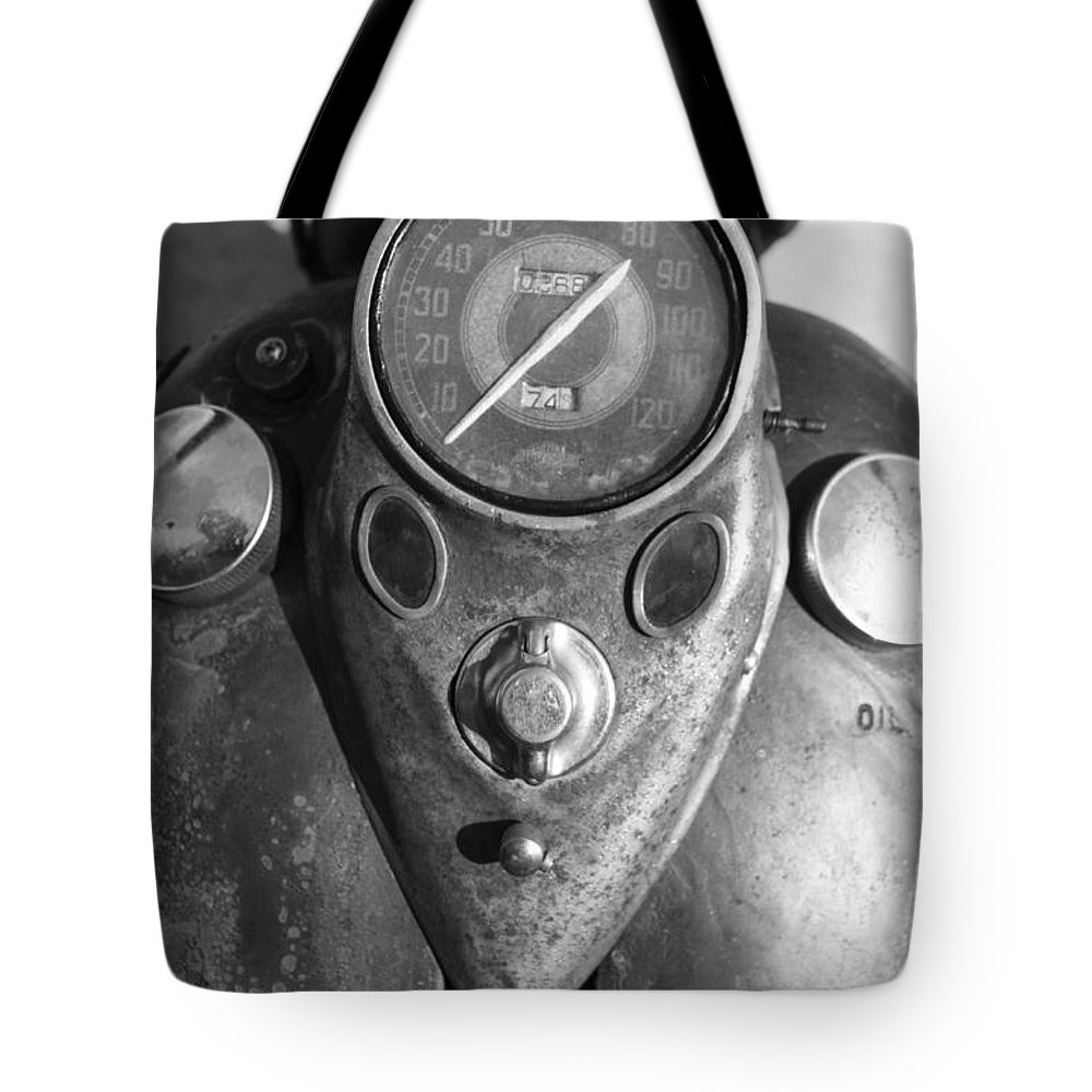 Harley Tote Bag featuring the photograph Harley Speedometer by Nick Kirby