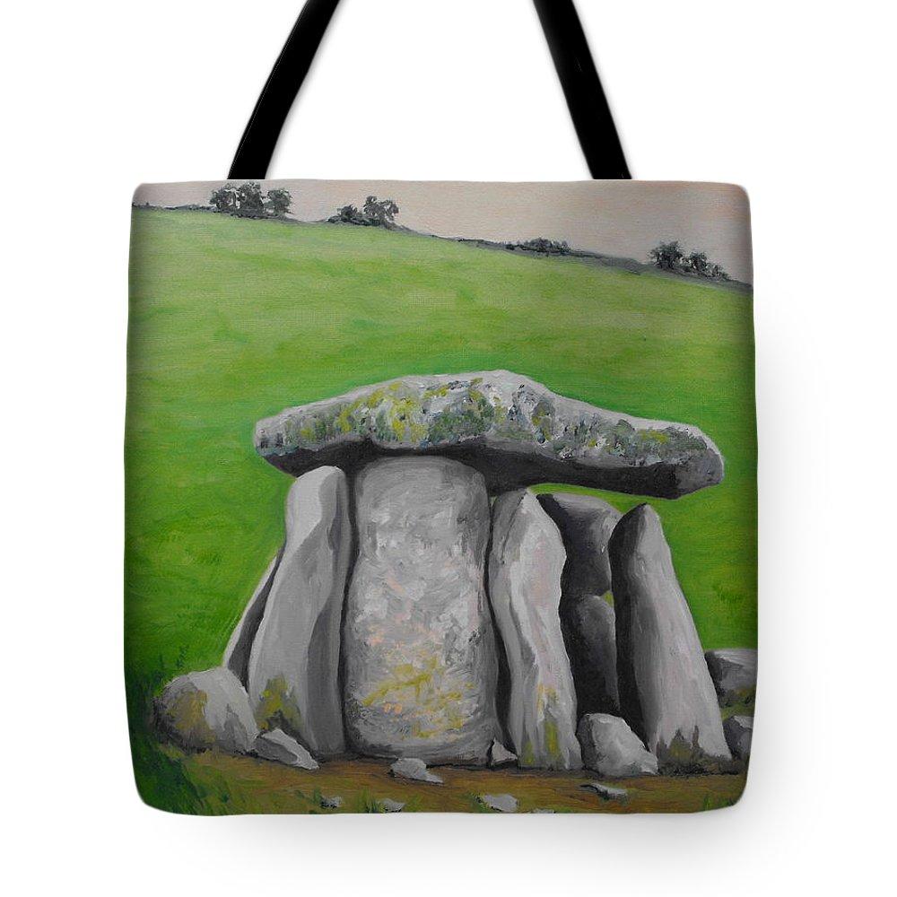 Dolmen Tote Bag featuring the painting Haroldstown Dolmen by Caroline Cunningham