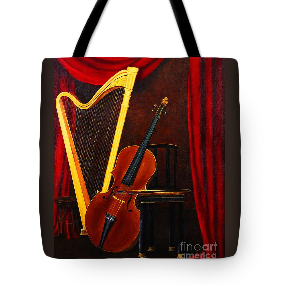 Dlgerring Tote Bag featuring the painting Harp And Cello by D L Gerring