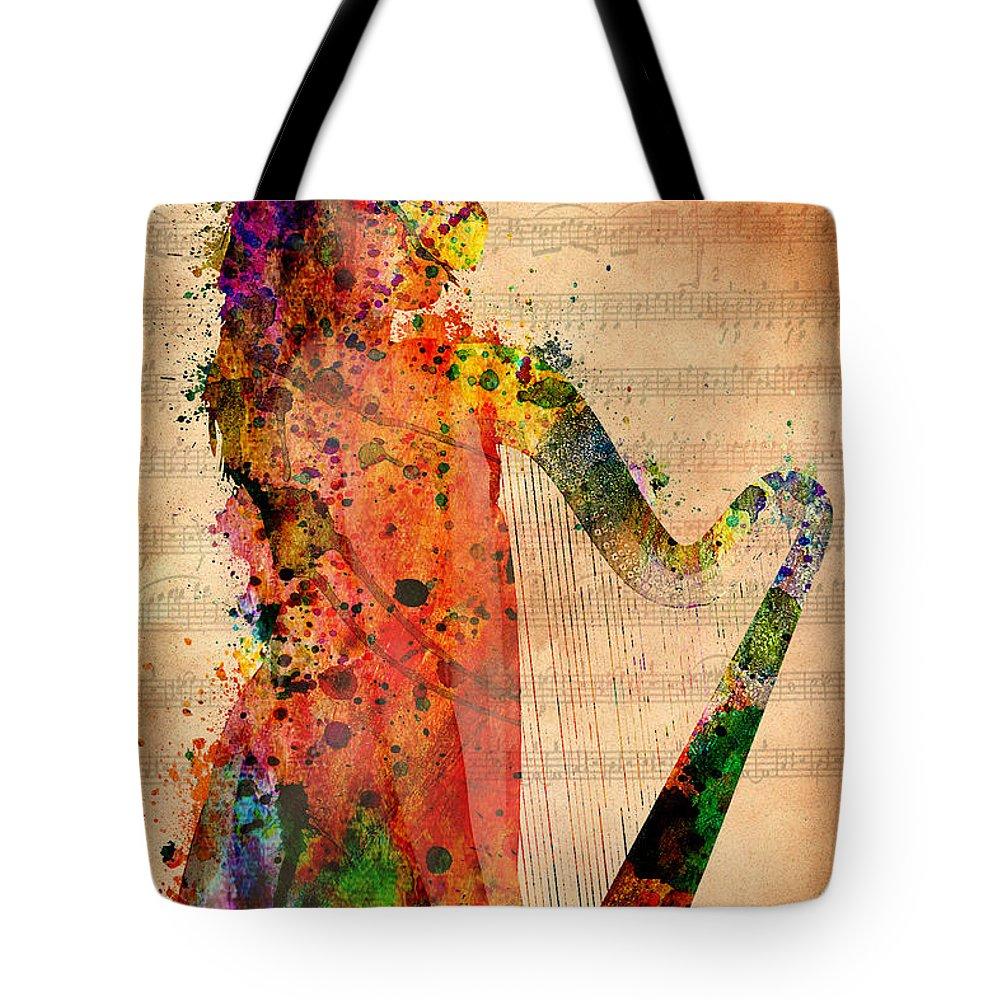 Harp Digital Art Tote Bags