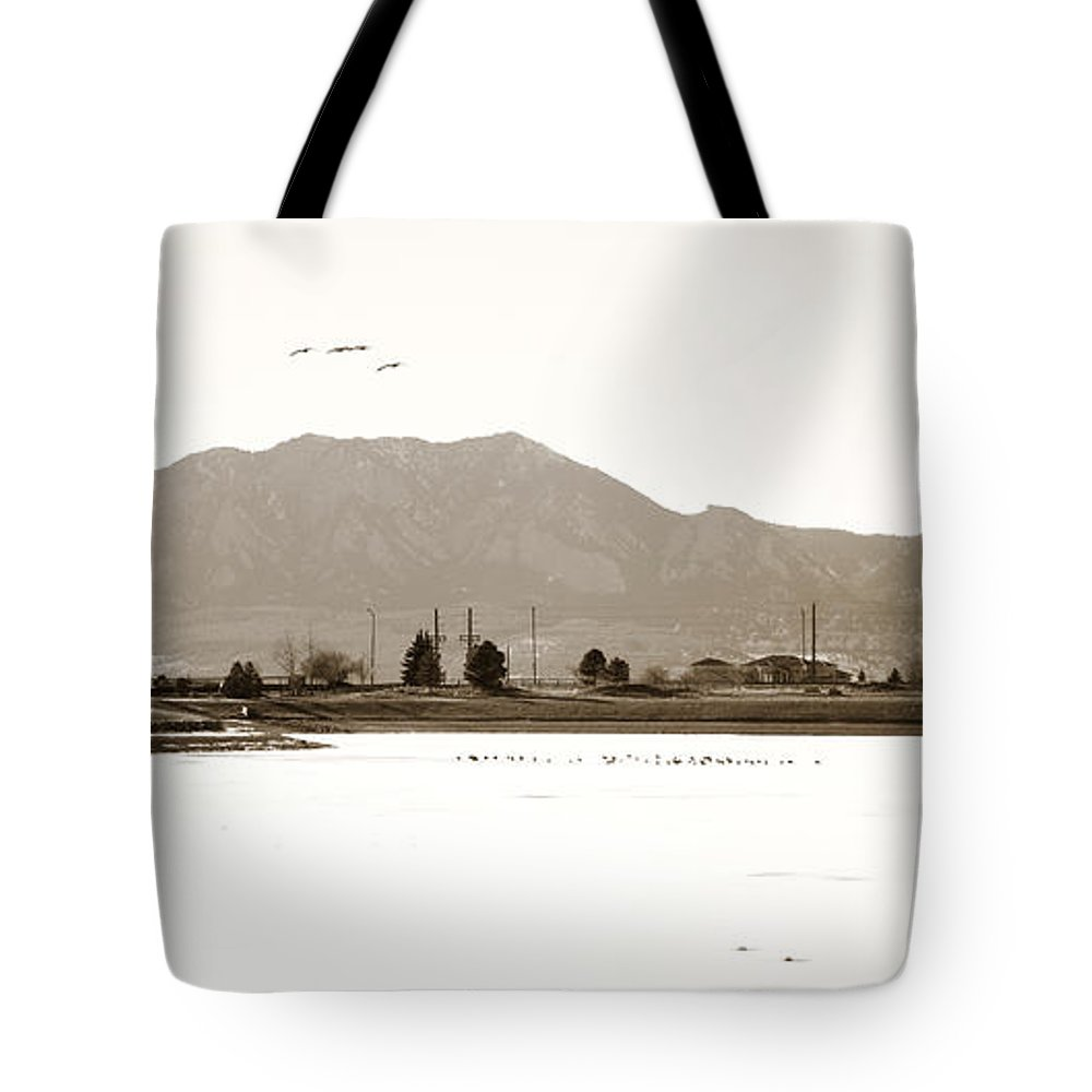 Harpers Tote Bag featuring the photograph Harpers Lake Louisville Colorado by Marilyn Hunt