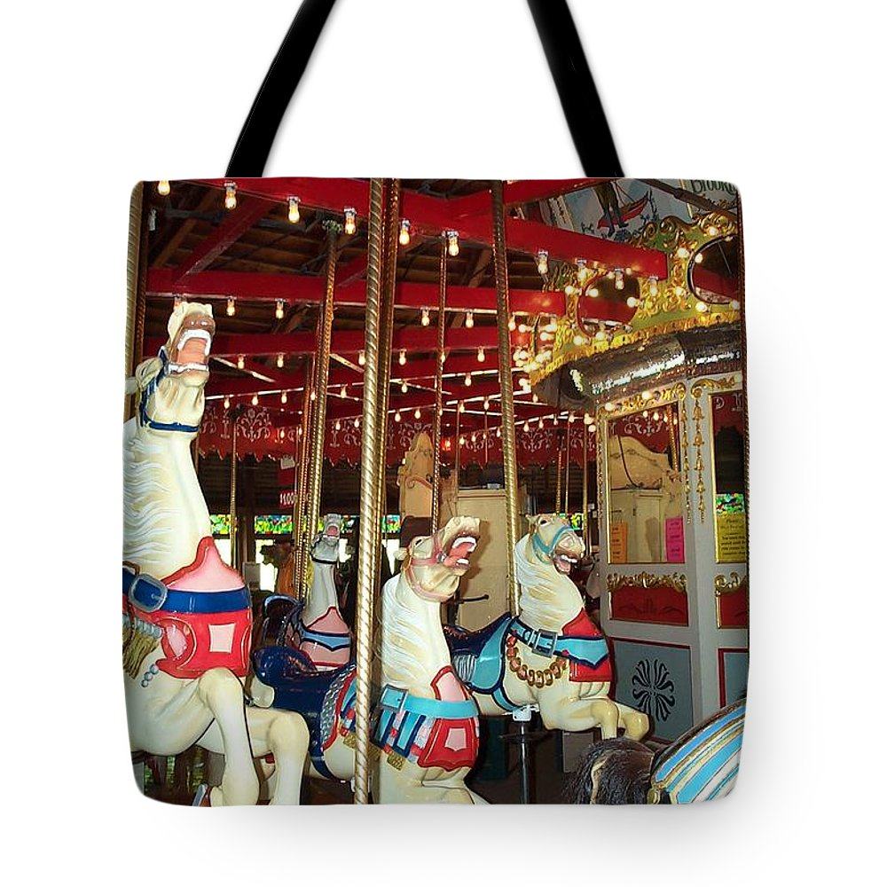 Carousel Tote Bag featuring the photograph Hartford Carousel by Barbara McDevitt
