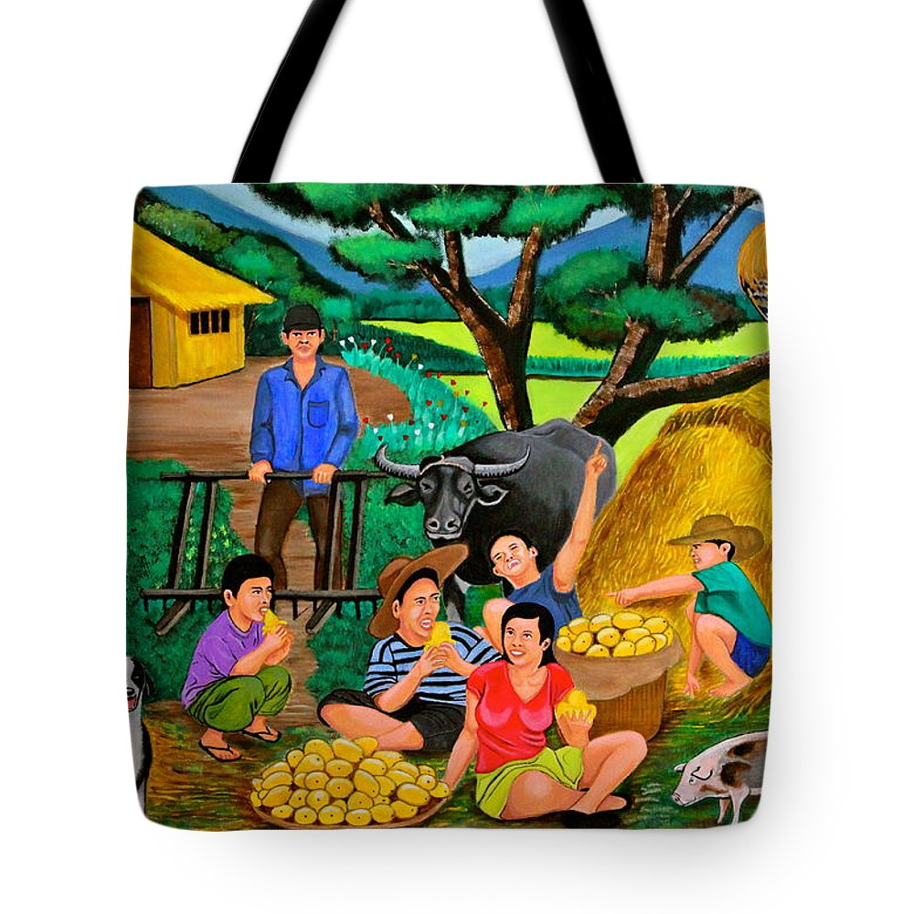 Landscape Tote Bag featuring the painting Harvest Time by Cyril Maza