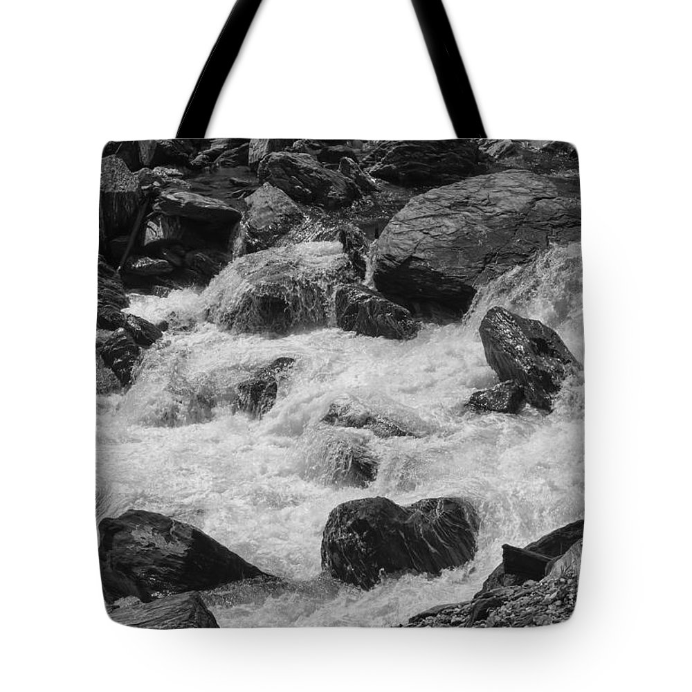 Mt. Aspiring National Park New Zealand Waterfalls Fantail Waterfall Falls Water Rock Rocks Landscape Landscapes Waterscape Waterscapes Cascade Cascades Black And White Tote Bag featuring the photograph Hasst Gate 2 by Bob Phillips