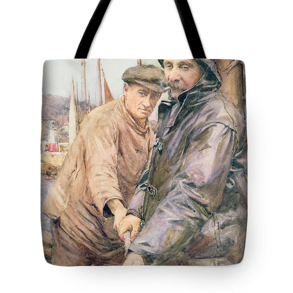 Cornish Tote Bag featuring the drawing Hauling In The Net by Henry Meynell Rheam