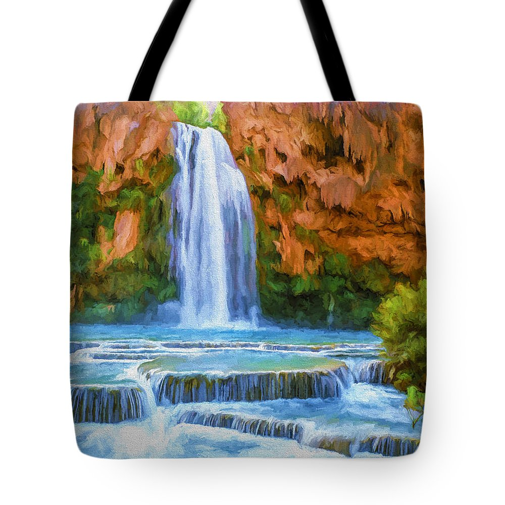 Fine Art Tote Bag featuring the painting Havasu Falls by David Wagner