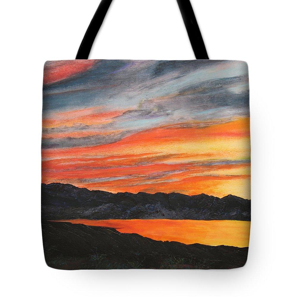 Landscape Tote Bag featuring the painting Havasu Sunset by Jennifer Hillman