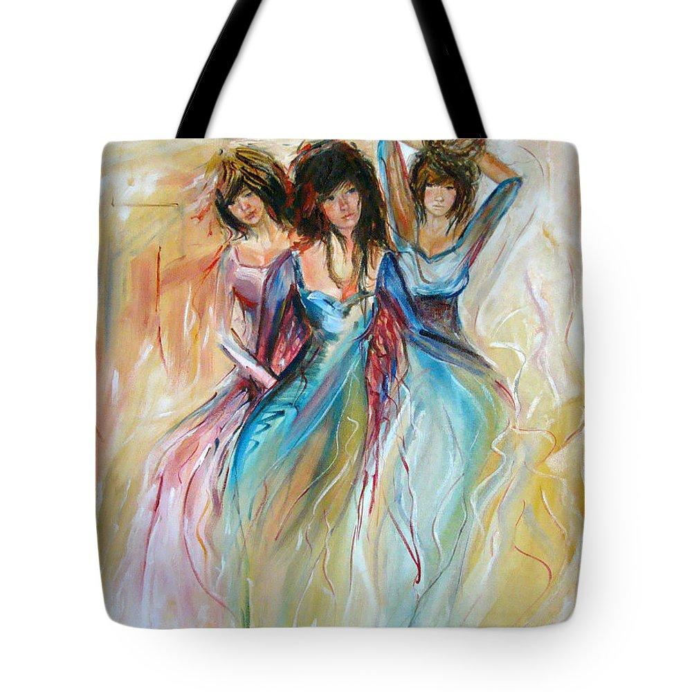 Contemporary Art Tote Bag featuring the painting Having Fun by Silvana Abel