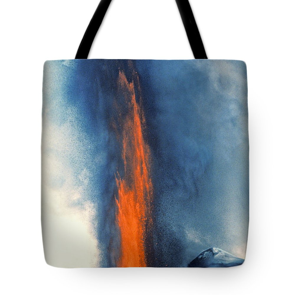 No People; Vertical; Outdoors; Day; Aerial View; Upward View; Cloud; River; Crowded; Travel; Cityscape; New York City; Manhattan; Usa Tote Bag featuring the photograph Hawaii Pu U O O Vent Diminishing Lava Eruption At End Of Phase by Anonymous