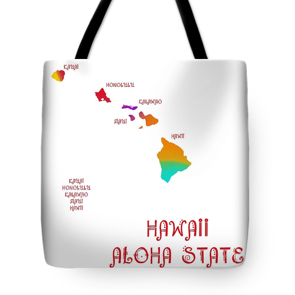 Andee Design Tote Bag featuring the digital art Hawaii State Map Collection 2 by Andee Design
