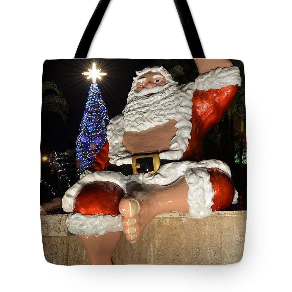 Mele Kalikimaka Merry Christmas Tote Bag featuring the photograph Hawaiian Santa by Aloha Art