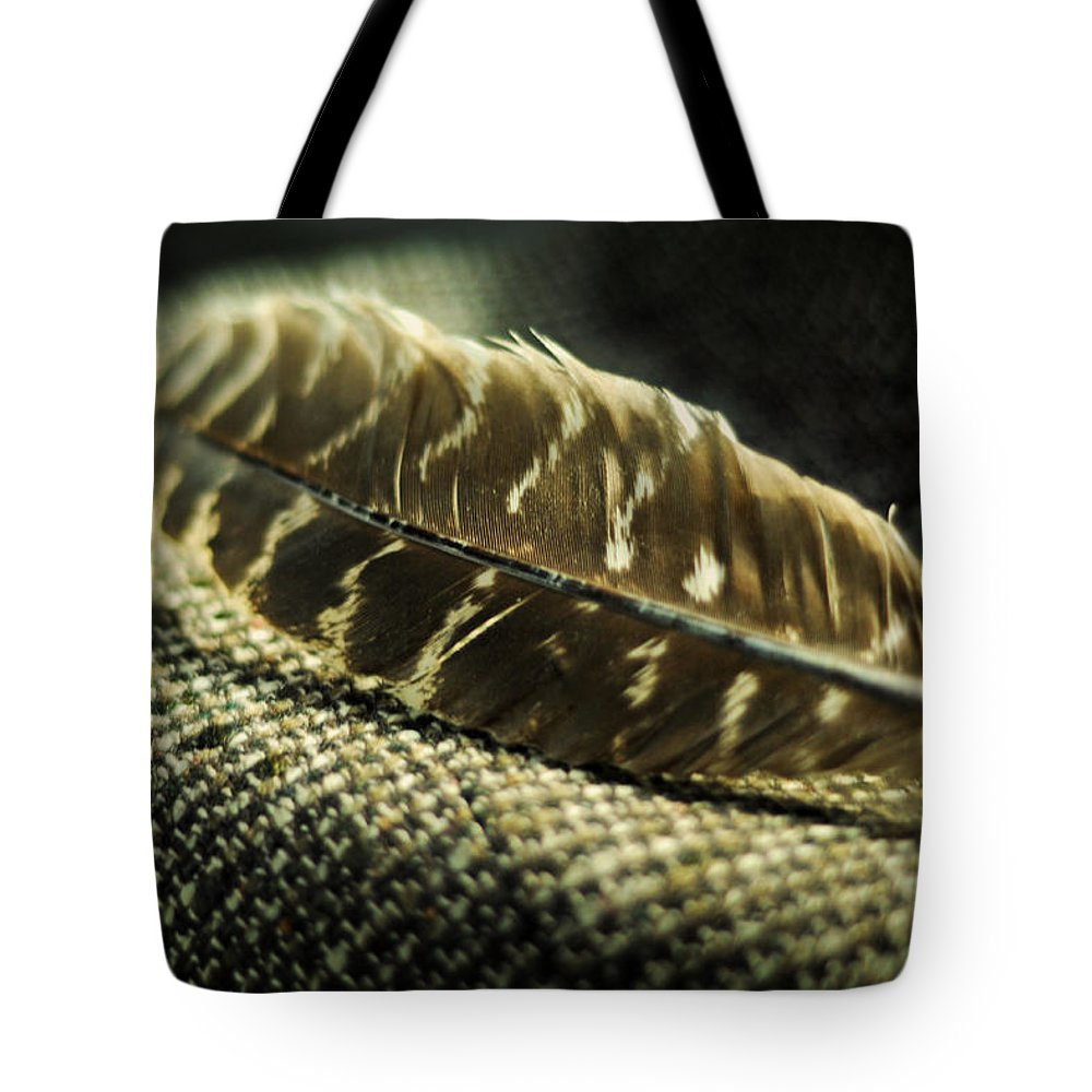 Hawk Feather Tote Bag featuring the photograph Hawk Feather by Rebecca Sherman