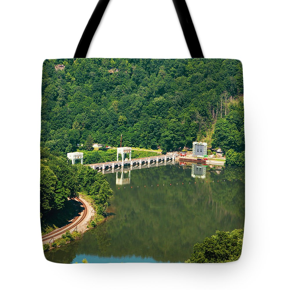 Hawks Nest State Park Tote Bag featuring the photograph Hawks Nest Dam by Mary Almond