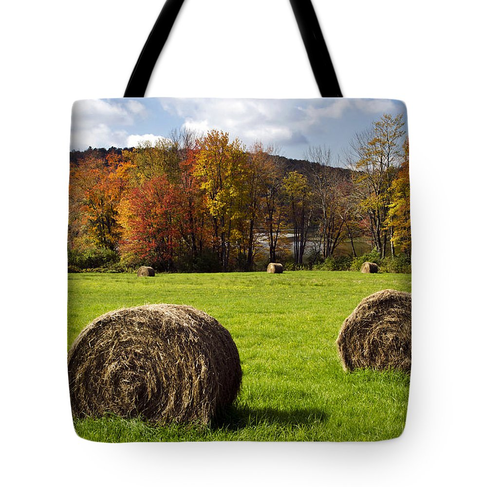 Fall Tote Bag featuring the photograph Hay Bales And Fall Colors by Christina Rollo