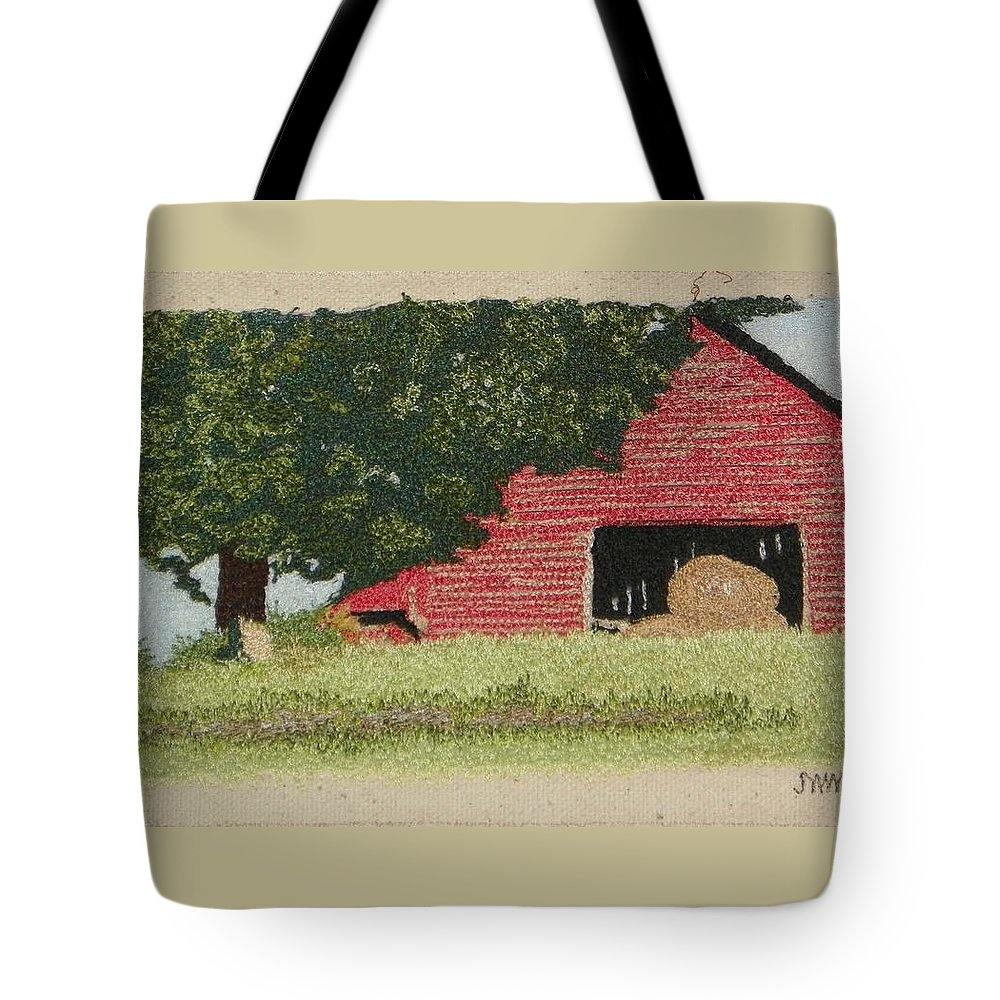 Fiber Tote Bag featuring the mixed media Hay Barn by Jenny Williams