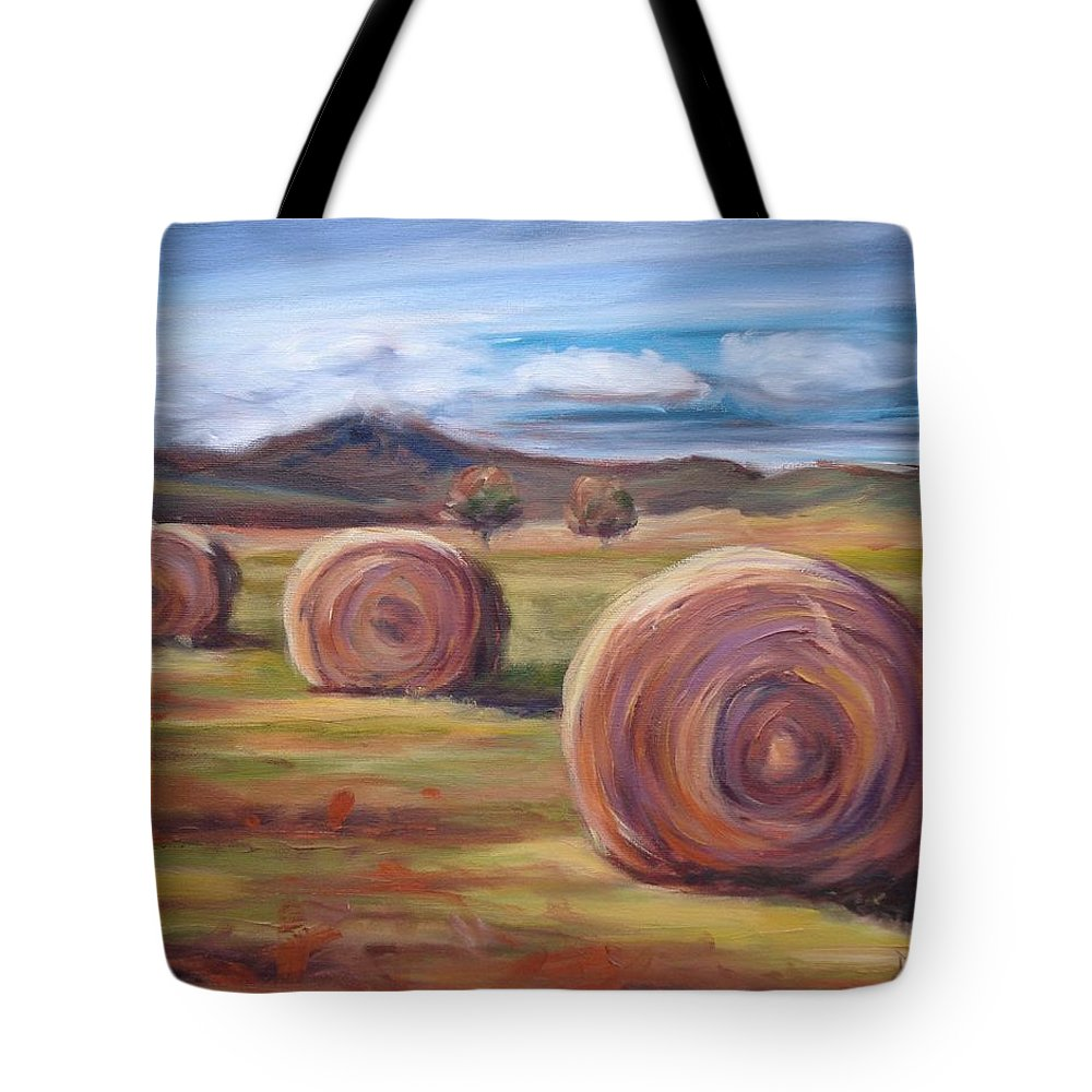 Virginia Tote Bag featuring the painting Hay Harvest by Donna Tuten