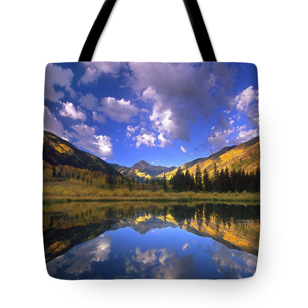 Autumn Tote Bag featuring the photograph Haystack Mountain Reflected In Beaver Pond by Tim Fitzharris