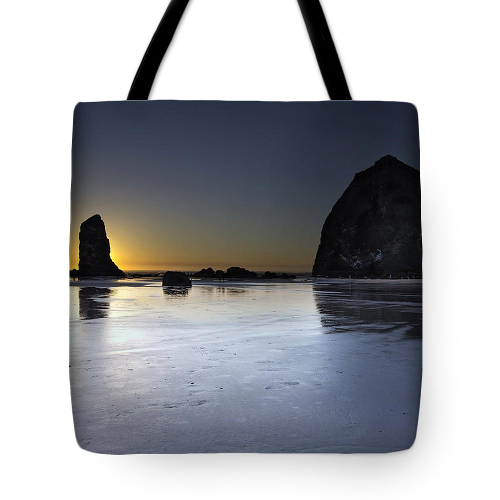 Haystack Tote Bag featuring the photograph Haystack Rocks And The Needles At Cannon Beach by Jit Lim