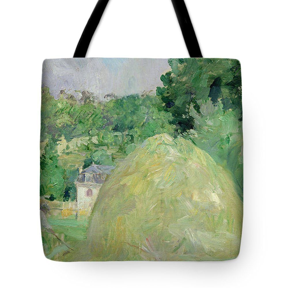 Haystack; Landscape; Field; Impressionist; Agriculture; Harvest; Farming; Harvesting; Haymaking; Landscapes Tote Bag featuring the painting Haystacks At Bougival by Berthe Morisot