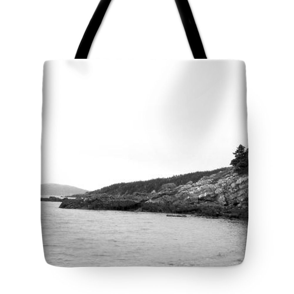 Hazy Day Tote Bag featuring the photograph Hazy Day Shoreline by Barbara Griffin
