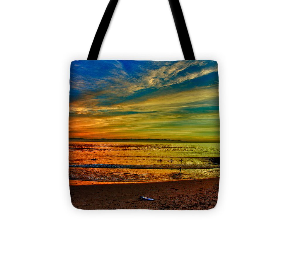 Print Tote Bag featuring the photograph hd 329 Surfboard In The Sand-edted version by Chris Berry