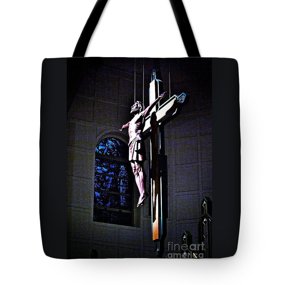 Resurrected Christ Tote Bag featuring the photograph He Has Covered Himself In Glory by Frank J Casella