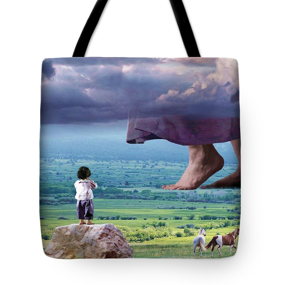 Children Tote Bag featuring the mixed media He Still Walks Here by Bill Stephens