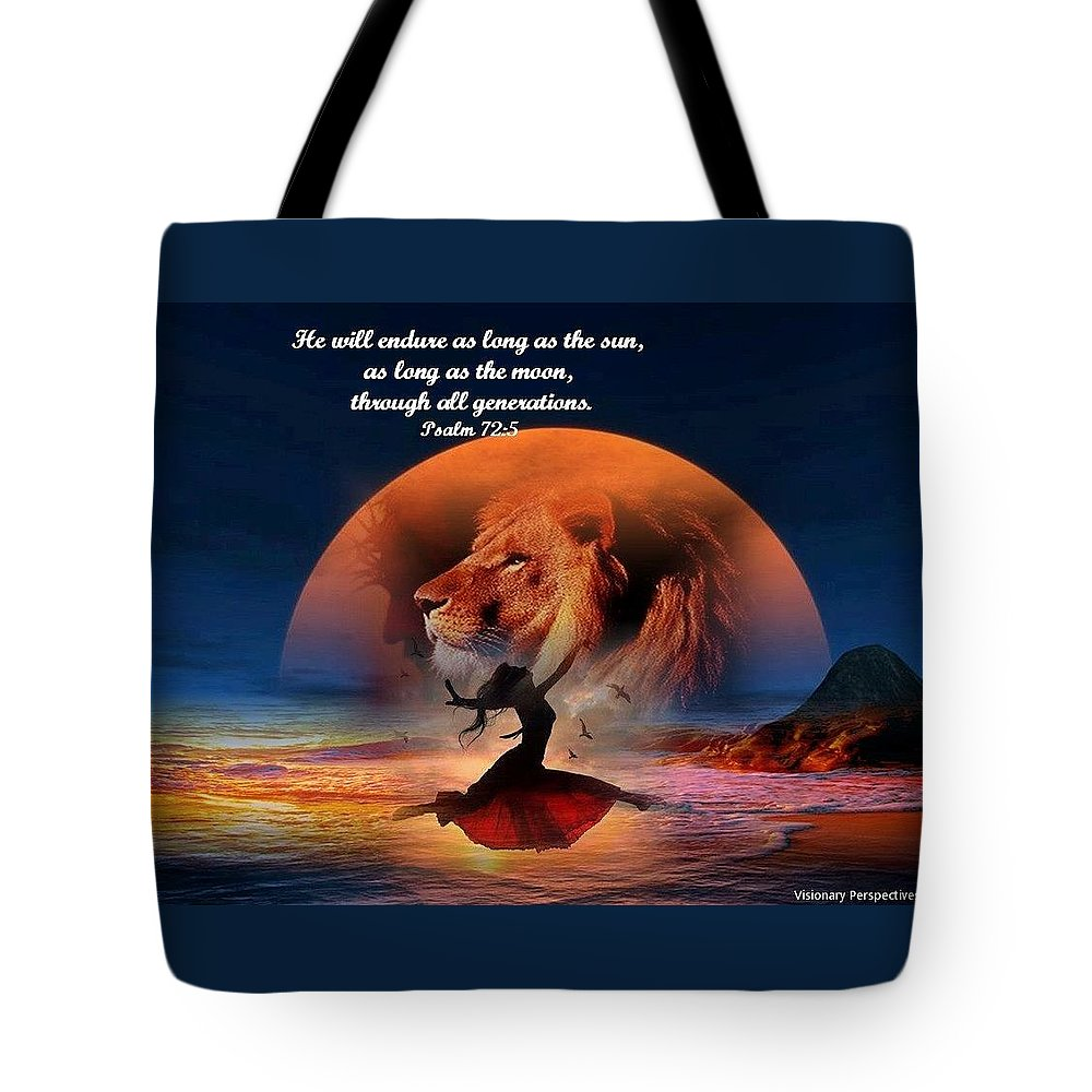 Sun Tote Bag featuring the digital art He Will Endure by Jewell McChesney