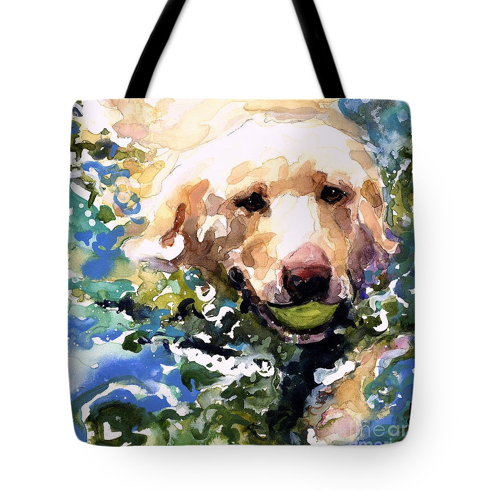 Water Retrieve Tote Bag featuring the painting Head Above Water by Molly Poole