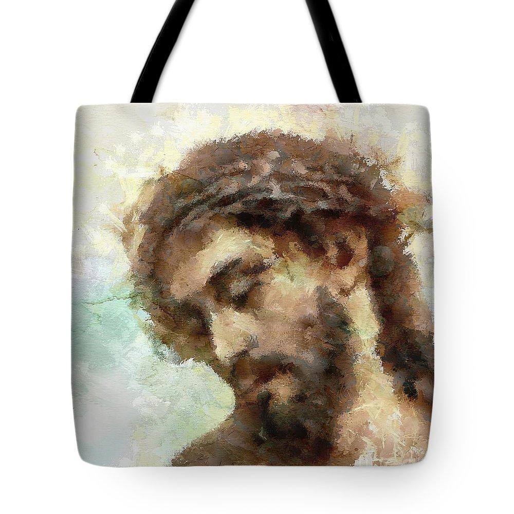 Christ Tote Bag featuring the painting The Head Of Christ by Dragica Micki Fortuna
