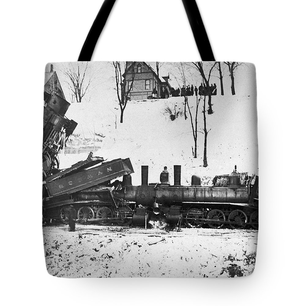 1880 Tote Bag featuring the photograph Head On Train Wreck by Underwood Archives